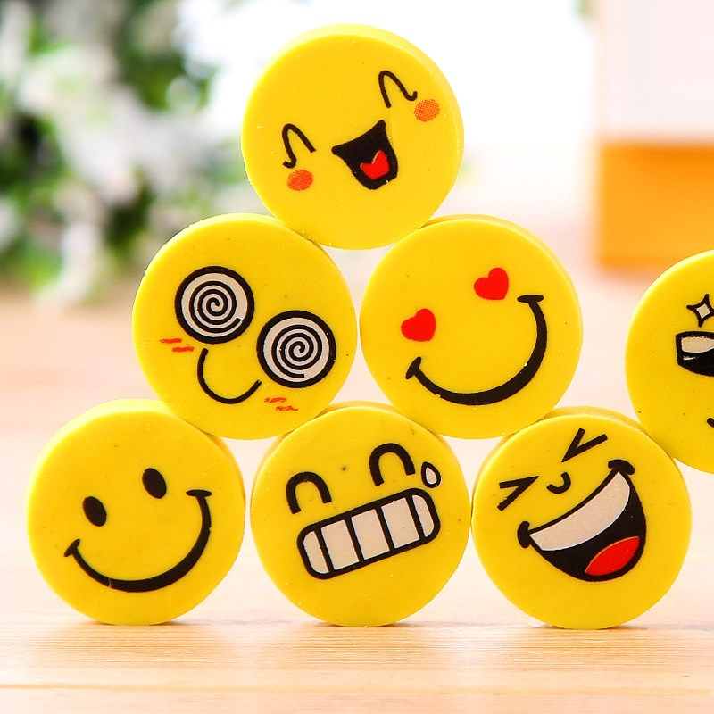 24pcs Mini Coin Star Cute Eraser Love Smile Face Rubber Erasers For Pencil Correction Novelty Stationery Office School A6415