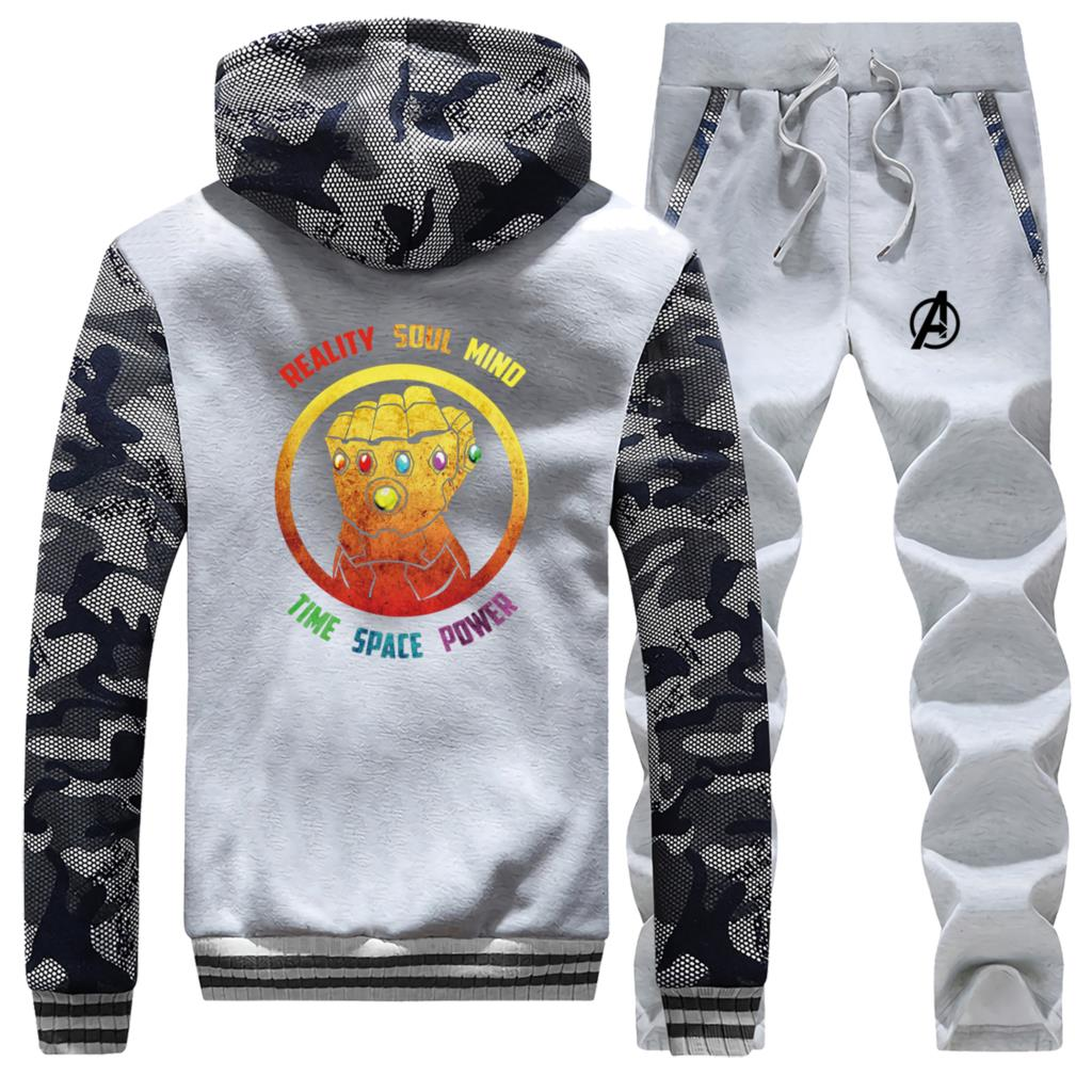 Thanos Infinity Gauntlet Winter New 2019 Sportswear Hip Hop Men Hoodie Camouflage Coat Thick Suit Warm Jackets+Pants 2 Piece Set