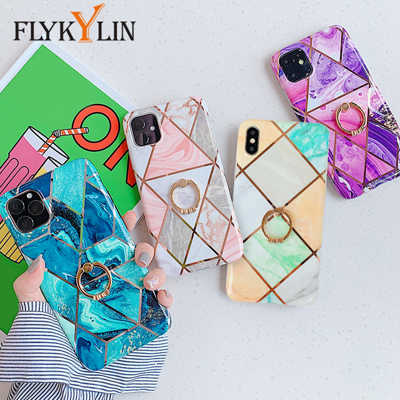 Galleria fotografica FLYKYLIN Ring Stand Case For iphone XS XR X 7 8 6 S 6S Back Cover Marble IMD Silicone Phone Coque For iPhone 11 Pro Max 2019 New
