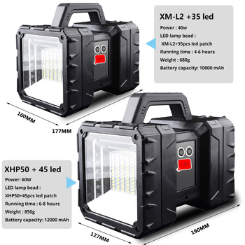 Powerful LED Flashlight XHP50 Waterproof Double Head Searchlight USB Rechargeable High Power Spotlight Lantern Torch with Base 2