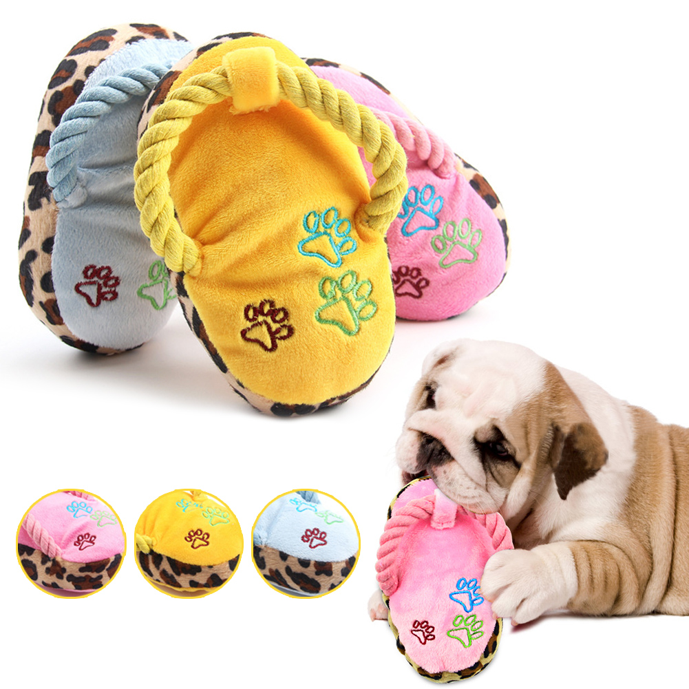 Plush Dog Chew Toy Slipper Shape Pet Molar Puppy Kitten Teeth Cleaner Toothbrush Stuffed Dog Squeaky Toy Pet Training Toys