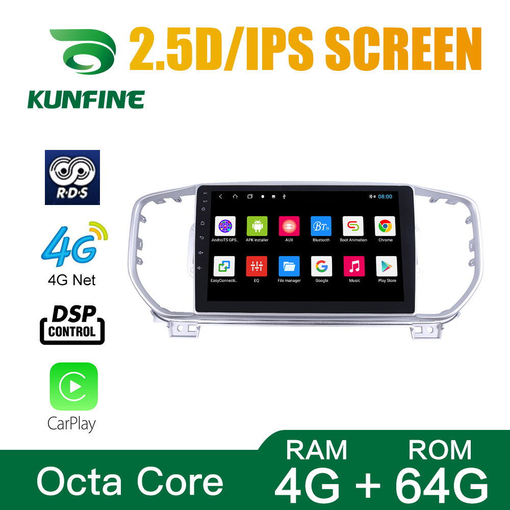 Octa Core 1024*600 Android 8.1 Car DVD GPS Navigation Player Deckless Car Stereo for KIA KX5 Sportage R 2016 Silver Color Radio
