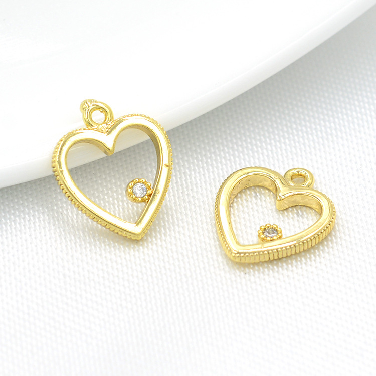 (319) 6PCS 10x12MM 24K Gold Color Plated Brass with Zircon Heart Pendants Charms High Quality DIY Jewelry Making Findings
