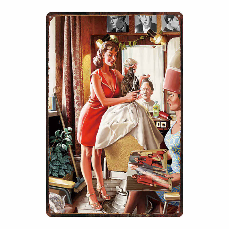Kapper Pin up Girl Metalen Borden Muur Bar Home Hotel Art Decor Cuadros Muur Sticker 30X20CM DU-3515B