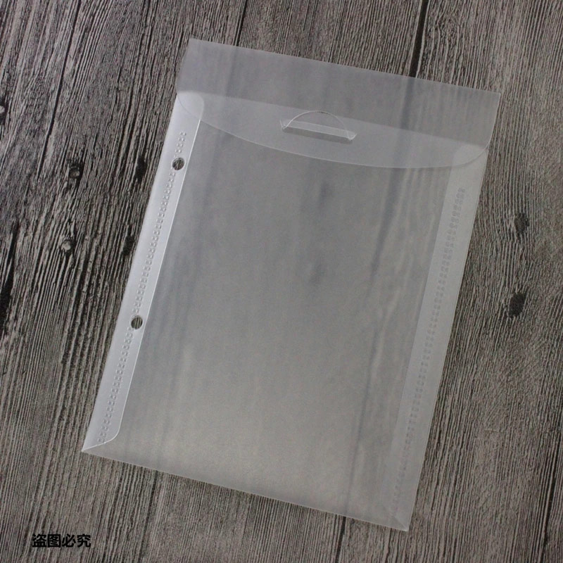 10pcs A5 Transparent Color Plastic Storage Bag File  2 Hole Loose Leaf Ring Binder Planner Accessories Agenda School Office Supp
