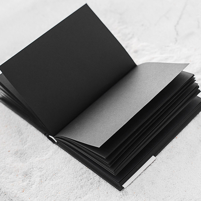 A5 All Black Paper Blank Inner Page Portable Small Pocket Notebook Sketchbook Stationery Gift Hardcover Notepad A5 SIZE