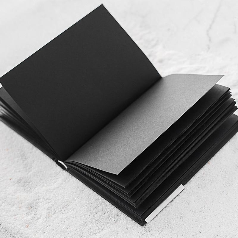 A5 Todo o Papel Preto Em Branco Página Interna do Pequeno Portátil de Bolso Notebook Sketchbook Papelaria Bloco de Notas de Capa Dura Presente A5 TAMANHOCadernos   -