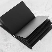 A5 tüm siyah kağıt boş iç sayfa taşınabilir küçük cep dizüstü eskiz defteri kırtasiye hediye ciltli not defteri A5 boyutu