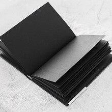 A5 جميع الأسود ورقة فارغة الداخلية الصفحة المحمولة جيب صغير دفتر كراسة الرسم القرطاسية هدية غلاف المفكرة A5 حجم