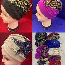 Turban-Cap Applique Cotton Indian for Women Soft Muslim-Hats Female Inner Hijab Caps