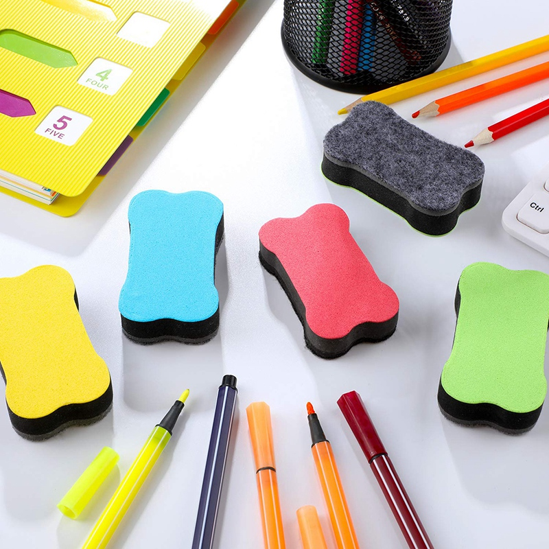 60 Pieces Magnetic Whiteboard Eraser Dry Erase Body Shape Whiteboard Eraser Chalkboard Cleaners With Felt Bottom For Classroom
