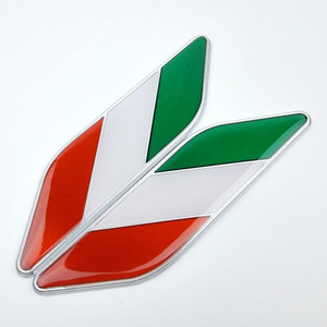 Car Styling Sides sticker Italy Flag New Pair Label 3D 3 Colors Emblem Car Stickers Auto Metal Emblem Italian Flag car-styling