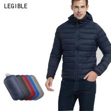 Zima parki mężczyźni Ultralight z kapturem Bubble parki płaszcz ciepły płaszcz zimowy męski wysokiej jakości męskie ubrania tanie tanio ESLITE HYUN Silk-jak Bawełna COTTON Poliester REGULAR Na co dzień NONE Stałe 0 55kg STANDARD zipper Suknem