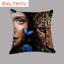 Pillow-Covers Cushions Velvet Decorative Sofa Throw Lion Tiger Print Soft Animal