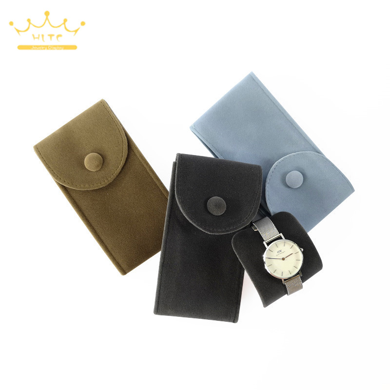 Watch Jewelry Organizer Velvet Bag Bracelet Pouch Travel Necklace Ring Storage Holder With Button