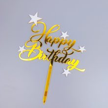 Gold Happy Birthday Acrylic Cake Topper INS Black Stars Cake Topper For Girls Kids Birthday Party Cake Decorations Baby Shower(China)