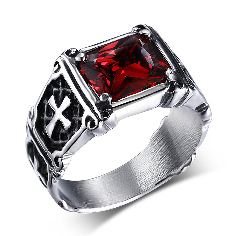 Cross Ruby red & black zircon diamonds gemstones rings for men punk gothic stainless steel jewelry cool fashion accessories gift