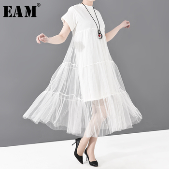 [EAM] Women Black Mesh Asymmetrical Temperament Dress New Round Neck Short Sleeve Loose Fit Fashion Tide Spring Summer 2020 3362 2019 spring new women half sleeve loose flavour black dress long summer vestido korean fashion outfit o neck big sale costume