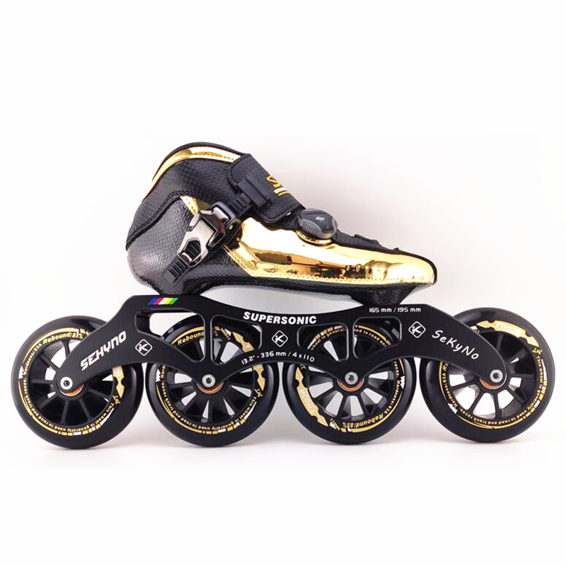 4 Wheels Track Race Speed Skates Patines Marathon Road Golden Inline Skates Shoes Carbon Fiber Boot 90 100 110 Kids Adult Roller