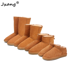 JXANG 2020 new women's Australian snow boots leather cowhide women's boots winter insulation non-slip ladies women's shoes