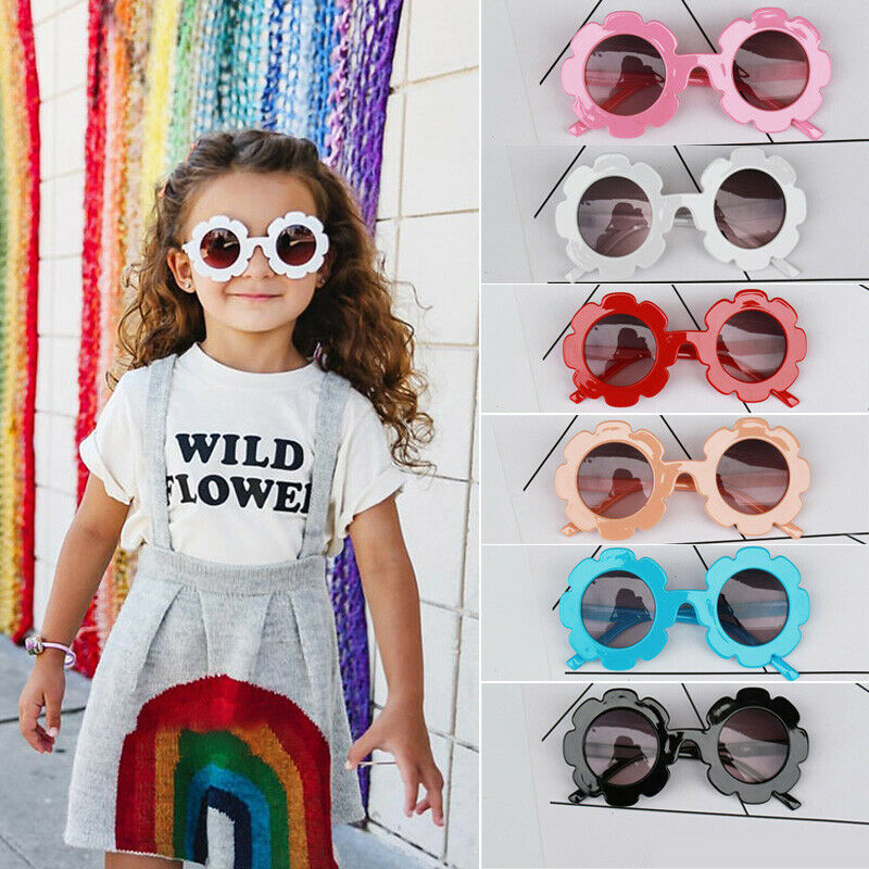 Newest Arrival Kids Sunglasses Flower Boys Girls Round Glasses Children Baby Plastic Eyewear