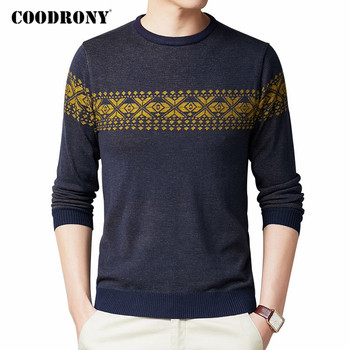 COODRONY Sweater Men Spring Autumn Casual Knitwear Pullover Shirt Men Clothes Streetwear Fashion Pattern O-Neck Pull Homme C1077 coodrony brand wool sweater men streetwear fashion striped pull homme spring autumn casual knitwear v neck pullover shirts c1089
