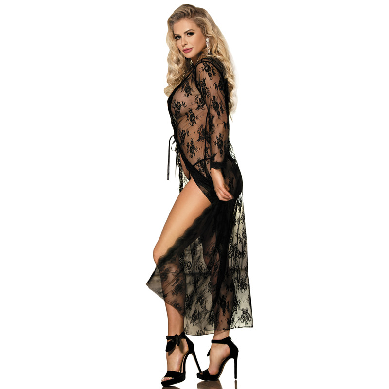 Image 2 - Comeondear 5XL Plus Size Lace Night Dress For Sex Long Sleeve Robe Femme Dentelle Woman See Through Black Night Gown RB80232-in Robes from Underwear & Sleepwears