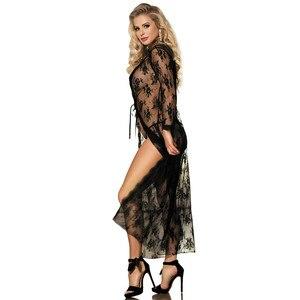 Image 2 - Comeondear 5XL размера плюс кружевное Ночное платье для секса, женское платье с длинным рукавом, женское прозрачное черное ночное платье RB80232