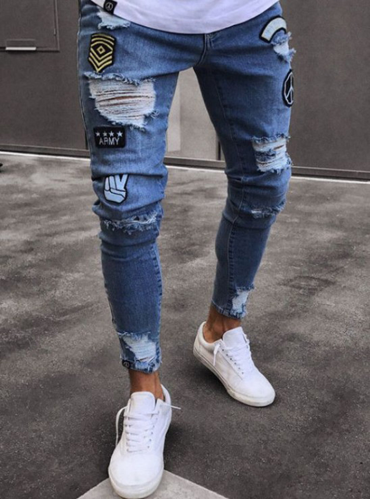 Men's Jeans Men's Slim Embroidered Jeans Weight Loss Jeans Hole Jeans