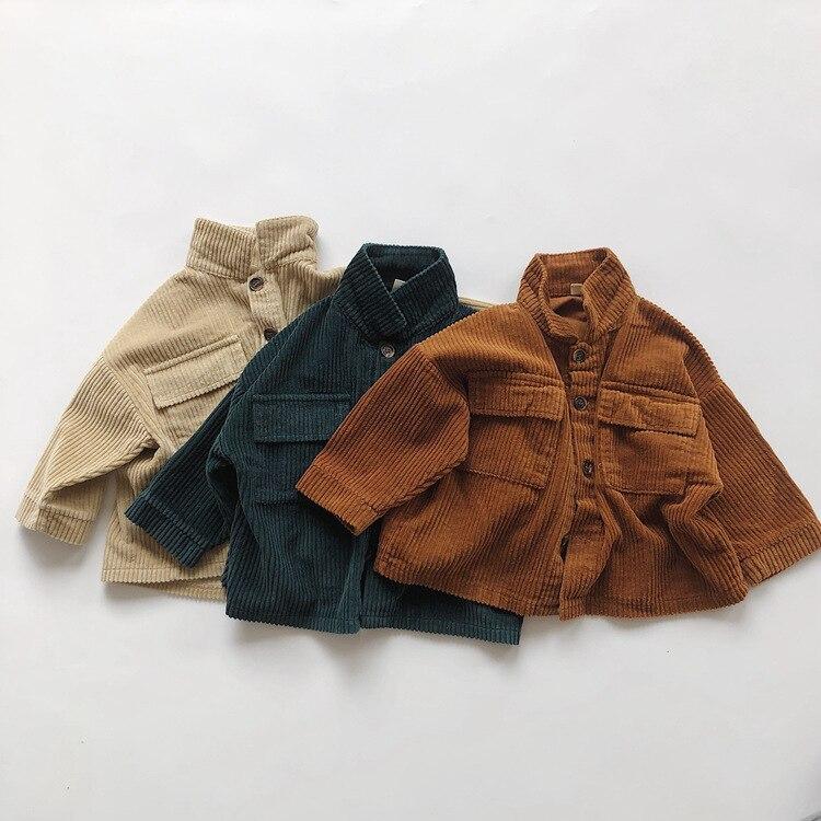 Kids Tops Coat Long Sleeve 2021 New Autumn Simplicty Corduroy Girls Coat Baby Jacket Boys Jackets Toddler Girl Winter Clothes 6
