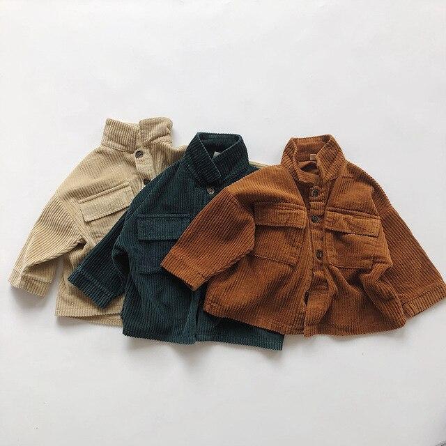 Kids Tops Coat Long Sleeve 2020 New Autumn Simplicty Corduroy Girls Coat Baby Jacket Boys Jackets Toddler Girl Winter Clothes 6