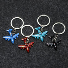 New Creative Charm Paint Airplane Key Chain Pendant Fashion Metal Key Ring Key Chain Party Gift Birthday Gift Jwelry(China)