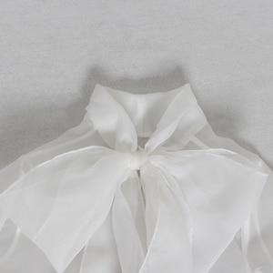 Image 5 - CHICEVER été élégant blanc maille Perspective femmes Blouse noeud col lanterne manches ample femme haut vêtements 2020 nouveau