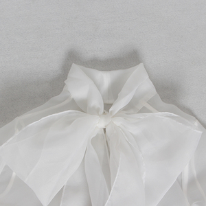 Image 5 - CHICEVER صيف أنيق أبيض شبكة منظور المرأة بلوزة القوس طوق فانوس كم فضفاض الإناث ملابس علوية 2020 جديد