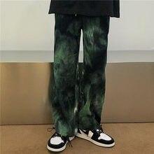 Hip Hop Tie Dye Pantalon homme Mode Décontracté Rétro Velours Côtelé Pantalon Hommes Streetwear Coréen Lâche Droite Jambes Larges Pantalons Hommes M-XL