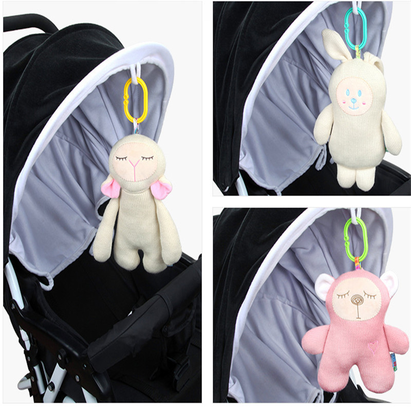Infant Musical Soft Plush Rabbit Bear Baby Stroller Hot Sale Bed Hanging Doll Cute Knitting Soft Appease Infant Sounding Toy