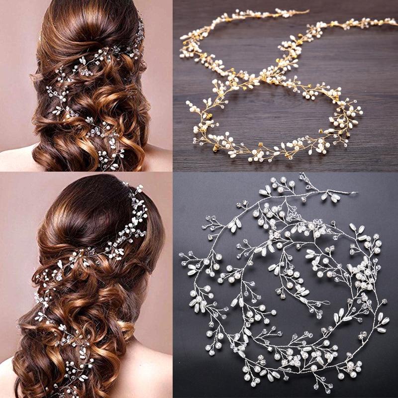 Crystal Pearl Bridal Tiaras Hairbands Hairpins Bridesmaid Hair Accessories Wedding Jewelry 35cm Headwear