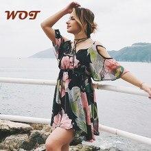 2021 Offres Spéciales en mousseline de soie à volants femmes robe col en v jupe courte imprimé robe de plage