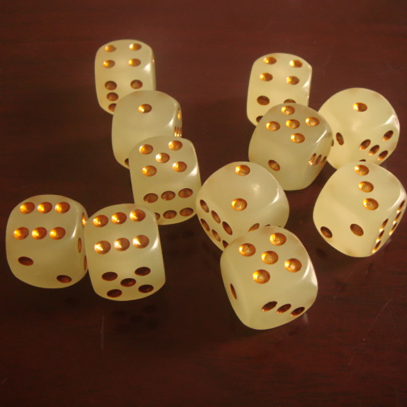 10 Piece Gold Point Fluorescence Dice Puzzle Game Send Children 6 Sided Dice DIY Game Accessory 16mm