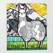 Теплое одеяло с изображением ламы и Анд для дивана, походов, пикника, толстое одеяло, модное покрывало, флисовое покрывало с рисунком животных