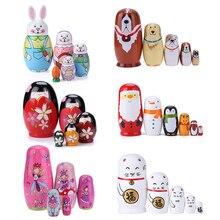 10 Stks/set Pinguïn Patroon Russische Matroesjka Poppen Handgemaakte Basswood Nesting Dolls Set Matryoshkapop Speelgoed Home Decor Speelgoed Nieuwe
