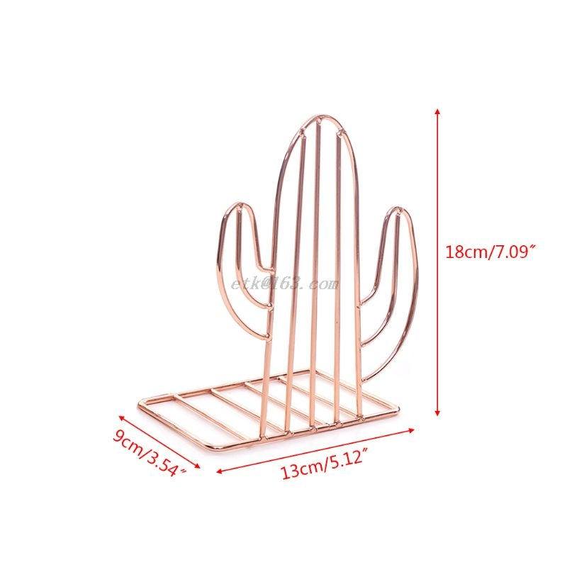 2PCS/Pair Creative Cactus Shaped Metal Bookends Book Support Stand Desk Organizer Storage Holder Shelf 6