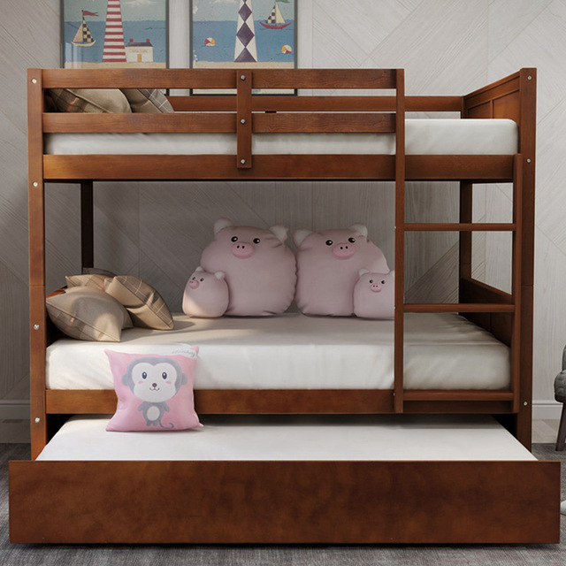 Bunk Bed with Twin Size Trundle w/  Ladder  4