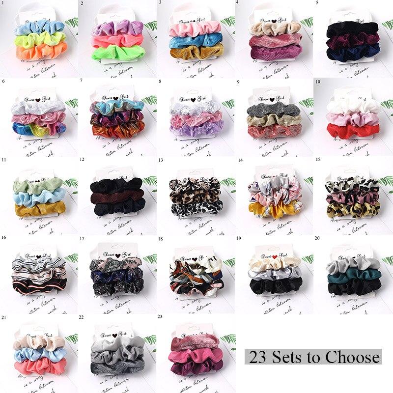 3pcs/set Scrunchies Hairbands Women Hair Accessories Satin Scrunchies Stretch Ponytail Holders Sweet Girls Hair Bands Headwear