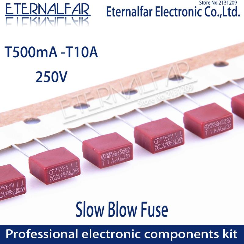 Square Fuse T50MA T500MA T1A T2.5A T3.15A T4A T5A T6.3A T8A T10A 250V 392 Plastic T2A LCD TV Power Board Commonly Water Purifier