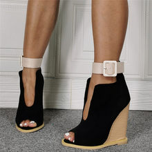 sexy lady super high wedge open toe shoes real photos woman peep toe belt strap high wedge shoes(China)