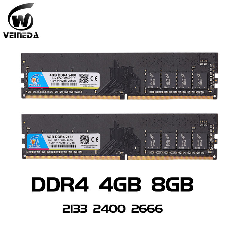 VEINEDA ddr4 8 gb RAM Do Computador PC 4GB 8GB 4G 4 PC4 8G de Memória DDR 2133 2400 2666Mhz Desktop Motherboard Memoria 284-pin