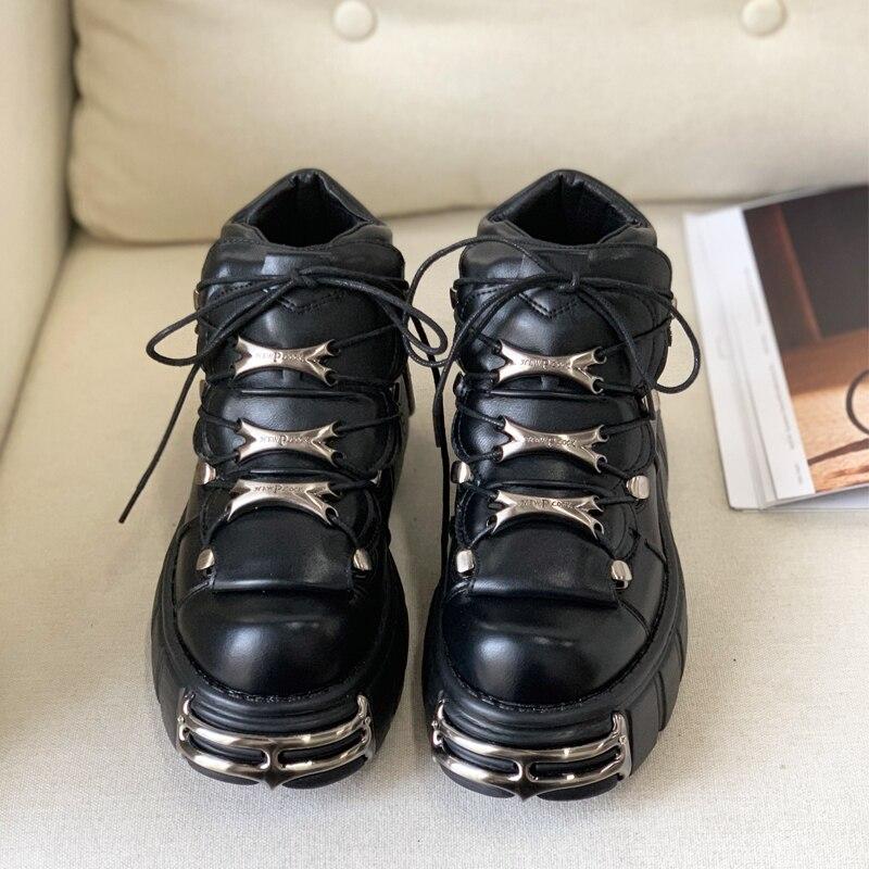 Jady Rose Style Punk Femmes Baskets à lacets 6CM Chaussures à Plateforme Femme Creepers Femme décontracté Chaussures Plates En Métal Décor Tenis Feminino - 3
