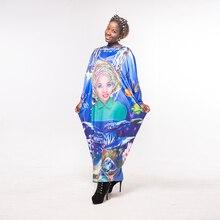 New Arrival Women's Bazin Printed Elastic Blue Long Dashiki Dresses
