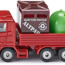 Recycling-Transporter, Metall/Kunststoff, Rot, Inkl. -  Glas-Container